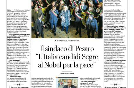 """Ricci: """"L'Italia candidi Liliana Segre al Nobel per la Pace"""""""