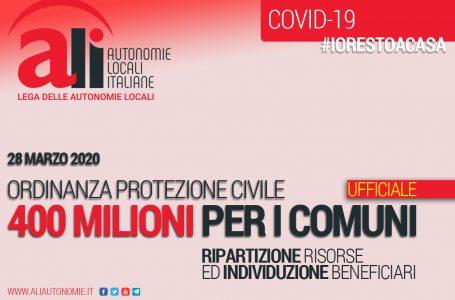 400 MILIONI PER I COMUNI: ECCO LE SCHEDE ILLUSTRATIVE DELL'ORDINANZA PROTEZIONE CIVILE 28 MARZO 2020