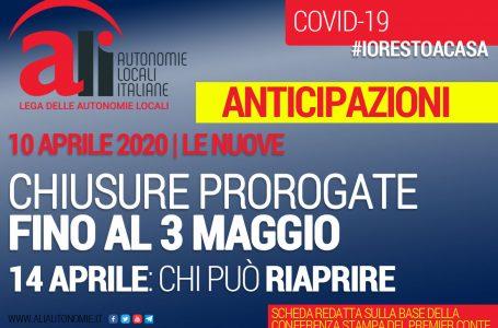 CONFERENZA STAMPA CONTE: CHIUSURE PROROGATE FINO AL 3 MAGGIO. CHI PUÒ RIAPRIRE IL 14 APRILE