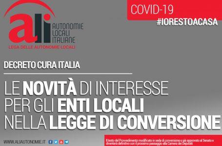 CURA ITALIA: SCHEDE ALI RELATIVE ALLE NOVITÀ DI INTERESSE PER GLI ENTI LOCALI NELLA LEGGE DI CONVERSIONE