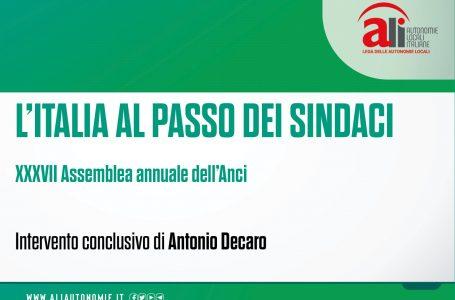 """#ANCI2020, DECARO: """"COINVOLGERE SINDACI SU LINEE DI SVILUPPO RECOVERY FUND"""""""