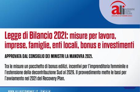 LEGGE DI BILANCIO 2021, ECCO LE MISURE IN ARRIVO