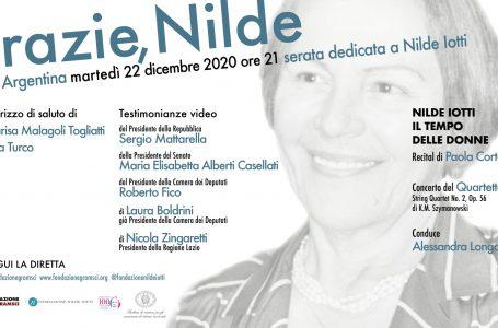 """""""GRAZIE NILDE"""", AL TEATRO ARGENTINA DI ROMA IL 22 DICEMBRE"""