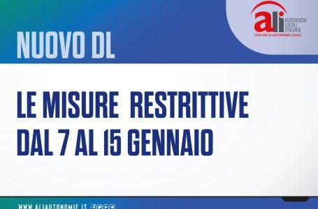 NUOVO DECRETO ANTI-COVID: LE MISURE DAL 7 AL 15 GENNAIO