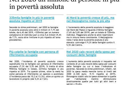 ISTAT, le stime preliminari della povertà assoluta: un milione in più di persone in un anno