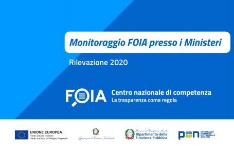 FOIA. Pubblicati i risultati del monitoraggio 2020 presso i Ministeri e la Presidenza del Consiglio dei Ministri