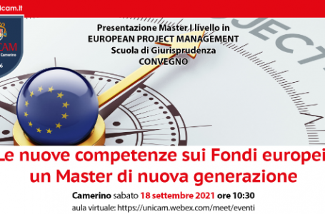 Università di Camerino, giornata di presentazione Master in European Project Management in programma il 18 settembre
