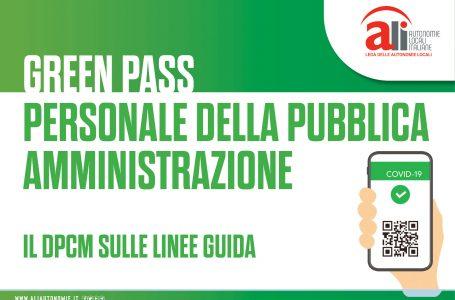Green pass, personale della P.A.: il dpcm sulle linee guida